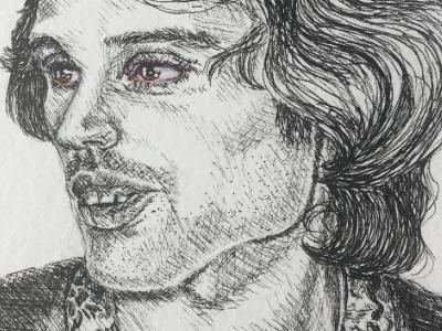 Freddie Mercury aids illustration watercolor eyes ink realism portrait queen freddie mercury