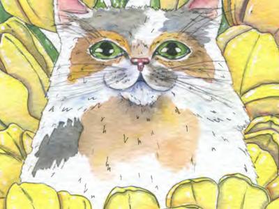 Calico watercolor art illustration flower fauna flora tulip yellow cat calico