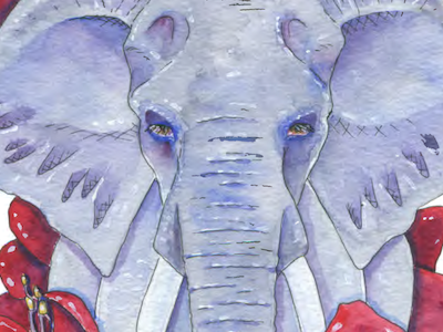 Elephant traditional illustration watercolor amaryllis flower fauna flora animal elephant