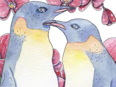 Penguins traditional art illustration illustrator watercolor flower bird fauna flora orchid penguin