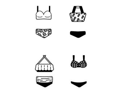 Icon Set - Bikinis swim suits bikini summer illustration icons