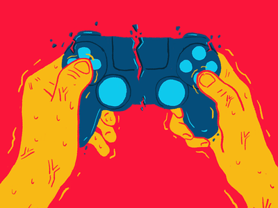 Gamer Wrath hands controller playstation ps4 video games game poster illustration