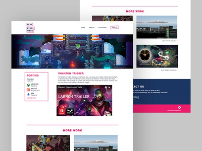 PlayEveryWare - Project Pages frontend dev frontend web design studio indie game gaming website web