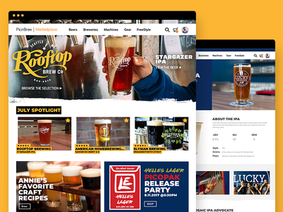 Picobrew Marketplace store user interface beer ui design website web design