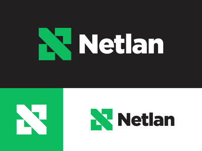 Netlan - another concept minimal logo fresh green tech lan telecommunication internet network isp