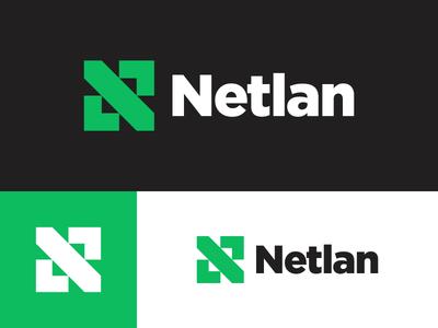 Netlan - another concept minimal logo fresh green tech lan telecommunication internet network isp