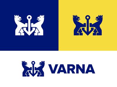 My gateway project branding logo crown sea heraldic crest lion city