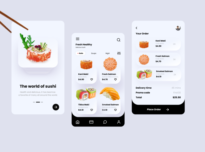 Sushi Mobile App UX-UI Design - Original by Ghulam Rasool checkout page design ux ui dailyui branding