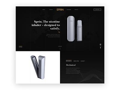Inhaler Hero UX & UI Design dark theme no smoking sprinhaler inhaler typography webdesign hero section parallax ux  ui