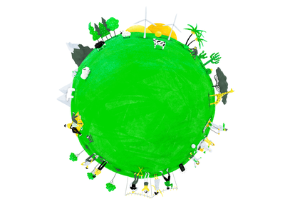 Save the Earth people crowdfunding green planet earth sustainability drawing illustration
