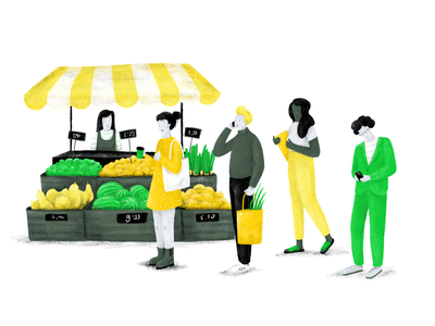 Farmers Market crowdfunding sustainable sustainability environment ecology green farmers market drawing illustration