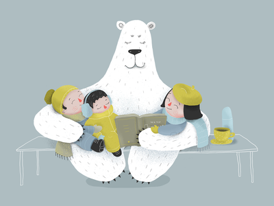Polar Bear Stories stories kids polar bear digital drawing digital childrens illustration children book illustration childrens book children draw art drawing illustration