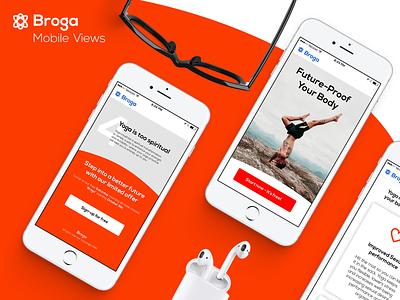 Broga LP Mobile view mobile ui  ux orange men yoga lp landing page ui