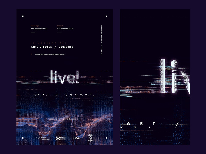 Live! (Exhibition/Concert) poster glitchart glitch typography design logo illustration exhibition design concert flyer event live! concert poster exhibition