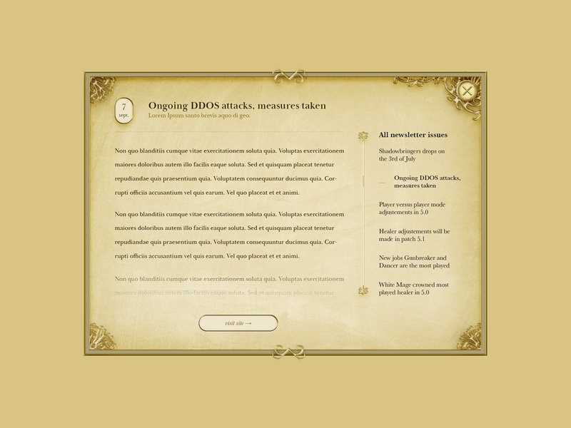 Modal window, MMORPG/Fantasy style wow ffxiv typography game art gameui game illustration ux design ornaments gold beige texture parchment paper ui fantasy rpg mmorpg mmo