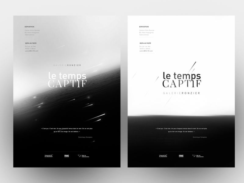 "Exhibition poster ""Le Temps Captif"" diagonal stars time ocean exhibition design poster exhibition exhibit sea simple black  white black motion logo illustration branding typography design"