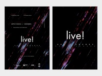Live, alternate exhibition/concer poster and logo