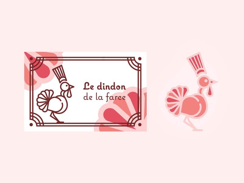 Le dindon de la farce, brand logo logo design logotype salmon red orange illustration web icon vector clean lines branding turkey pale rose brand identity logo brand