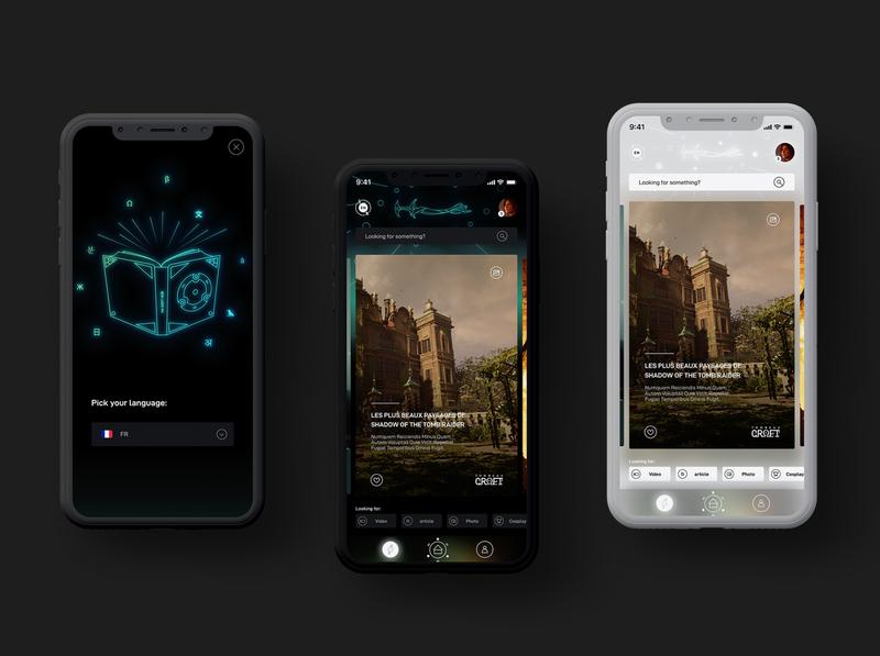Social Media App - Tomb Raider social app socialmedia social croft lara tomb raider tomb flat app vector web illustration ux ui branding typography design