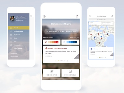 Axa Manager app ui ux map manager travel risks