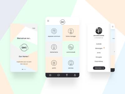 Our Home icons illustration social individuals services conciergerie concept app