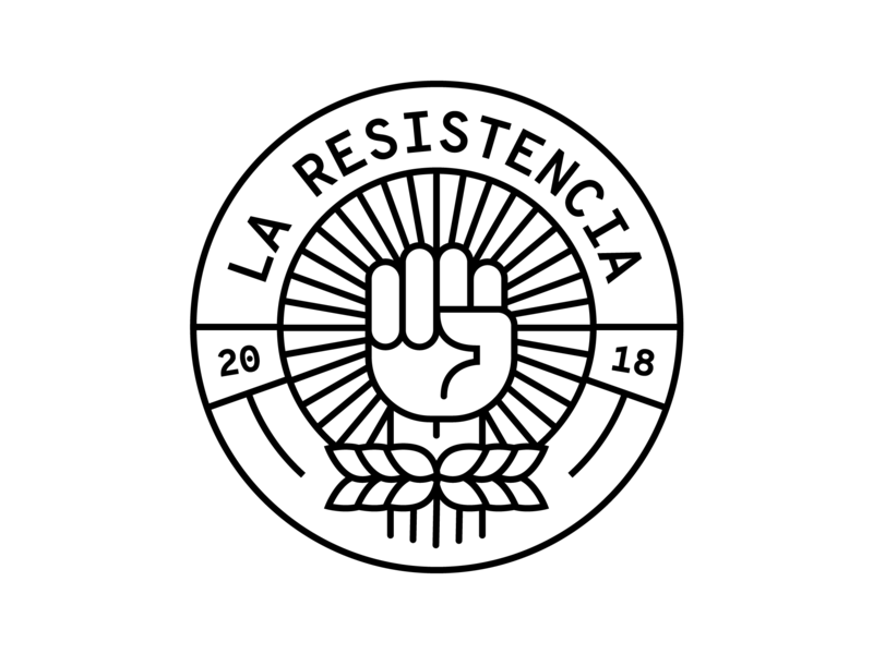La Resistencia power fist soccer shield logo futbol feminism