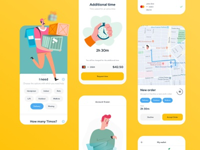 Jobs On–demand Service map on demand time mobile ui interface simple illustration design clean ux ui mobile app