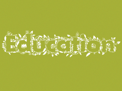 Education education typography growth green