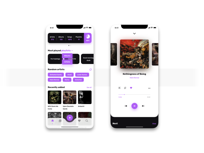 Music Player mobile ux ui app player music