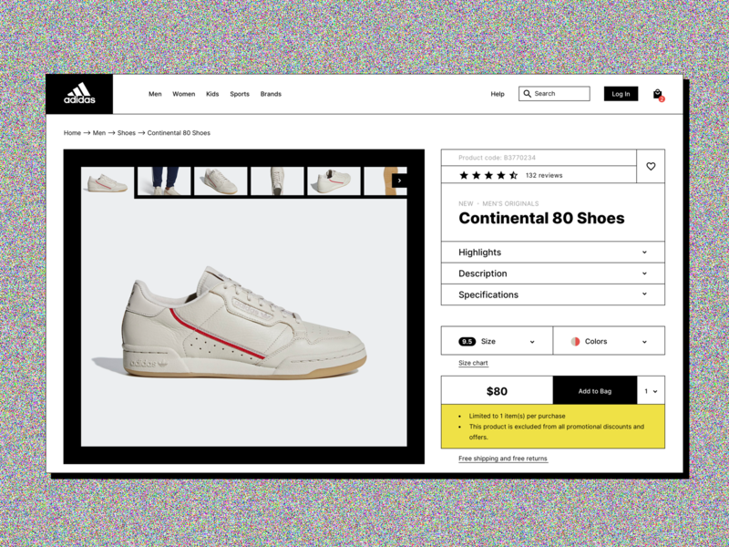 Adidas Online Store Redesign cart bag shoes web shop online store adidas