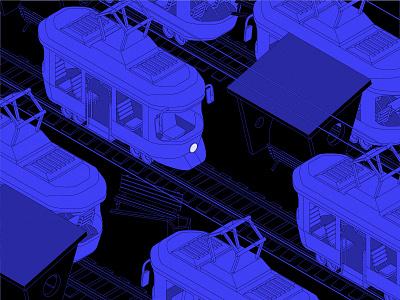 trams isometric illustration isometry vector illustration tramway tram