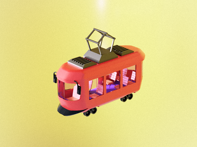tram moi3d blender3d blender 3dillustration 3d trolley tramway tram graphic design illustration
