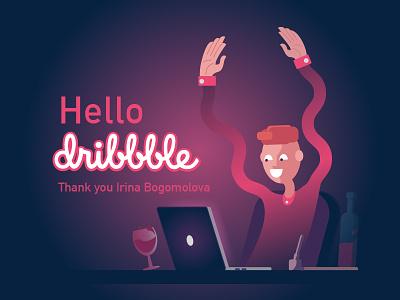 hello Dribbble! illustration debut dribble