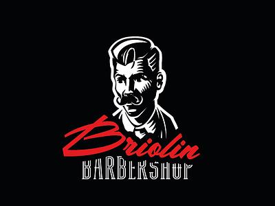 бриолин illustration barbershop logo