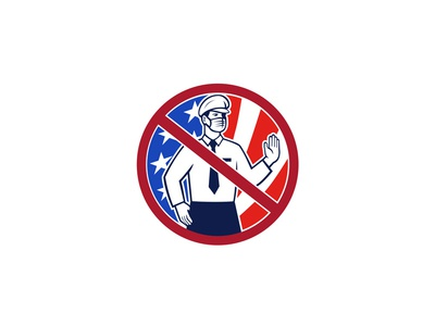 No Entry Without Immunization USA Sign Icon border security immunization immunity passport stop pandemic face mask immigration officer without immunization no entry icon