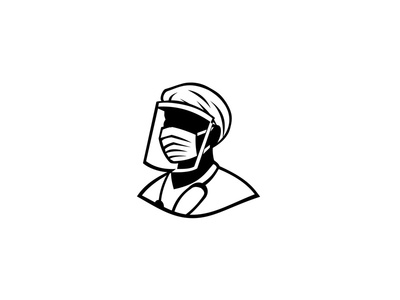 Medical Professional Wearing Face Mask Black and White hero surgical mask protective personal equipment essential worker healthcare doctor face mask nurse medical professional icon mascot
