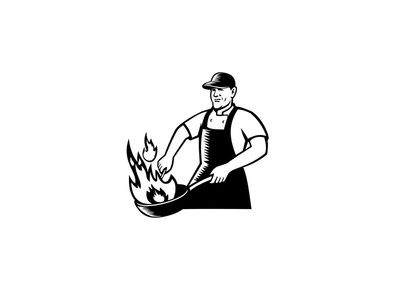 Chef Cooking Flaming Pan Black and White apron food worker woodcut fire fiery flame wok pan flaming cooking chef cook