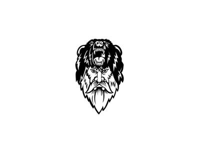 Berserker Wearing Bear Head Skin Black and White symbol sign retro head icon barbarian raider warrior skin bear warrior bear berserker