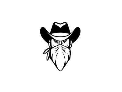 Bandit Outlaw Face Mask Black and White marauder marauding band gang member gang robber highwayman outlaw bandana cowboy bandit mask face mask