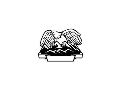 Eagle Perching on Mountain Range Black and white raptor outdoor badge shield crest nature snow capped mountain range eagle perching