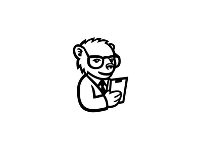 Nerdy Bear Scientist Mascot lab coat chemist coat research chemistry professor nerd nerdy scientist bear icon mascot