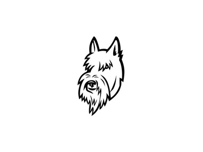 Scottish Terrier Head Mascot Black and White dog canid canine neckerchief bandanna bandana tartan plaid scarf