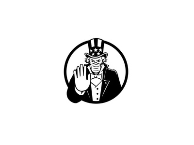 Uncle Sam Wearing Mask Stop Hand Signal Black and White contagion disease control and prevention face mask protective personal equipment mask virus spreading stop surgical mask