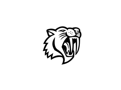 Angry Saber Toothed Cat Head Mascot Black and White mascot head saber feline cat wild cat sabre-toothed cat ice hockey saber-toothed cat saber toothed cat