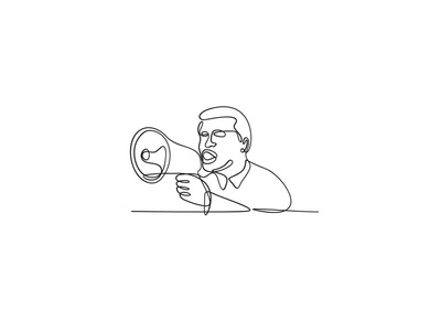 Male Activist with Bullhorn Continuous Line Drawing front protest male demonstrator speaking loudspeaker loudhailer megaphone bullhorn protester activist