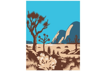 Joshua Tree National Park POSTER WPA national park landscape natural nature wilderness area cactus rock boulder mountain tree desert wpa
