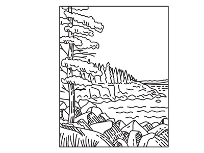 Acadia National Park on Mount Desert Island Mono Line Art protected area nature landscape scenery forest flora national monument mountain range national park mountain black and white recreation area retro mount desert island mono line