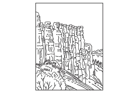 Hoodoos in Bryce Canyon Mono line Art landscape scenery forest flora national monument mountain range national park mountain black and white recreation area retro earth pyramid fairy chimney tent rock hoodoos mono line