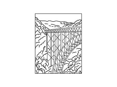 New River Gorge National Park and Preserve Mono Line Art landscape scenery forest flora national monument mountain range national park mountain black and white recreation area retro river bridge mono line