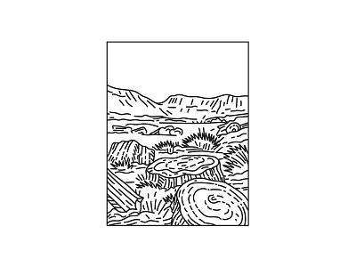 Petrified Forest National Park Mono Line Art forest flora national monument mountain range national park mountain black and white recreation area retro desert badlands semi-desert shrub steppe line art mono line